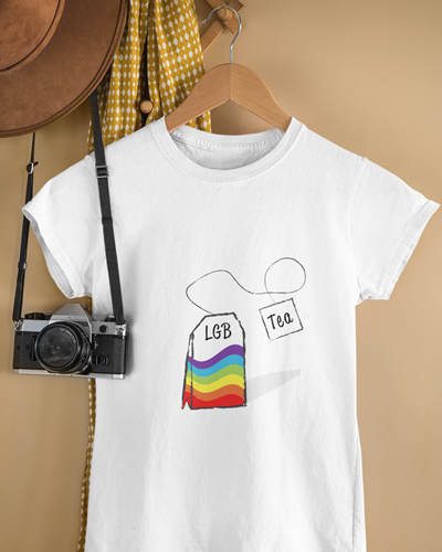 Funny LGBT white shirt with an LGBT teabag